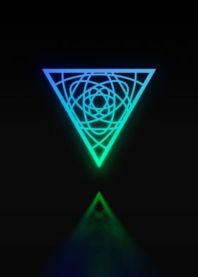 Neon Geometric Glyph Sign