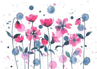 Garden of pink flowers