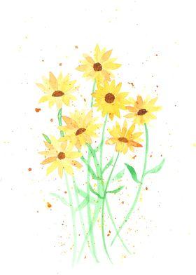 Little yellow sunflowers