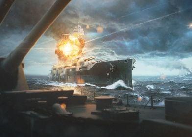 Sea Battle Scene of WWII