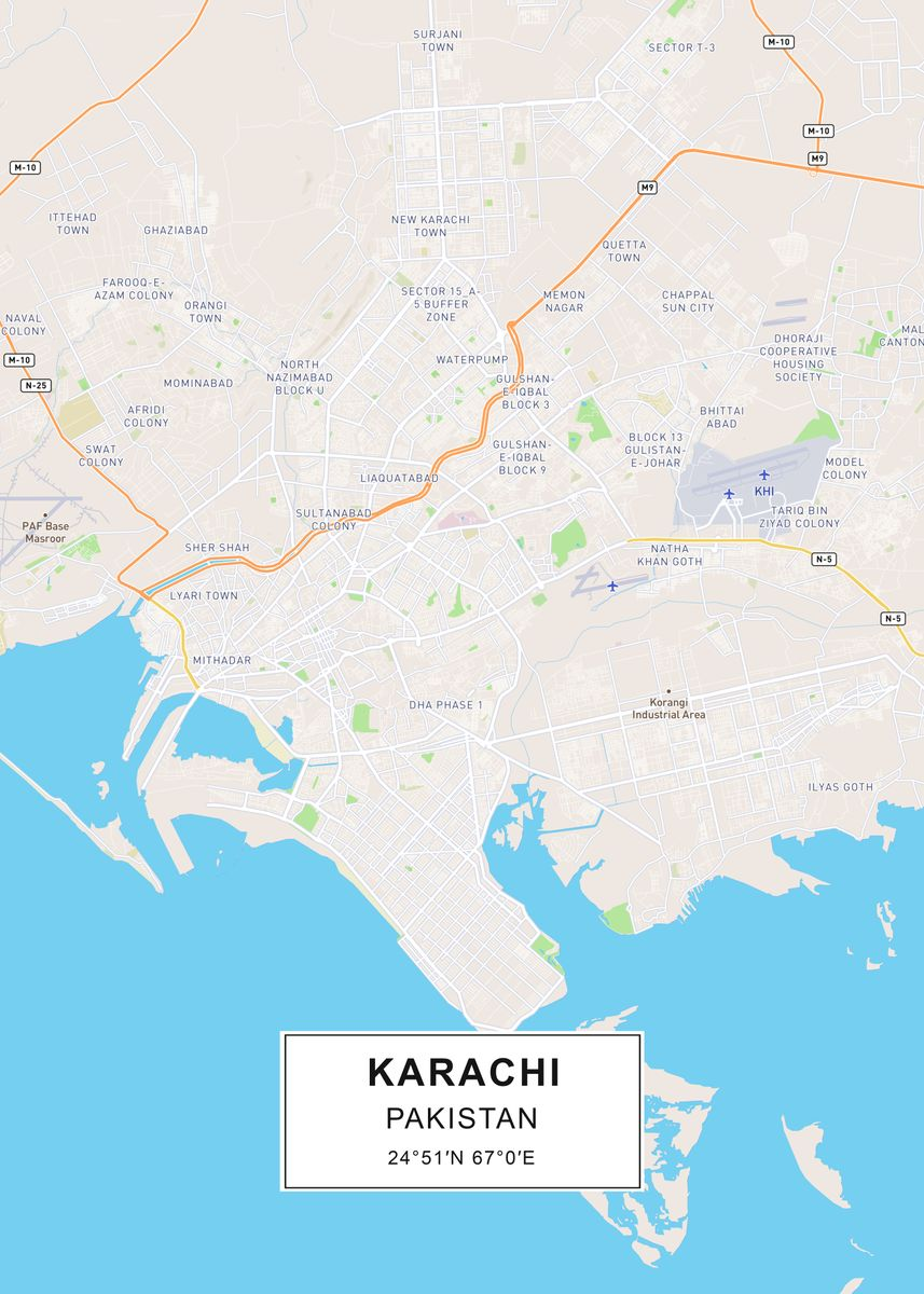 Karachi map by Rockstone | metal posters - Displate