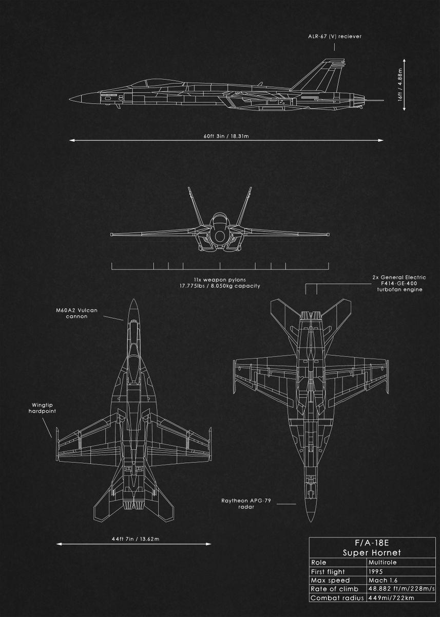 FA 18E Super Hornet by Rockstone   metal posters - Displate