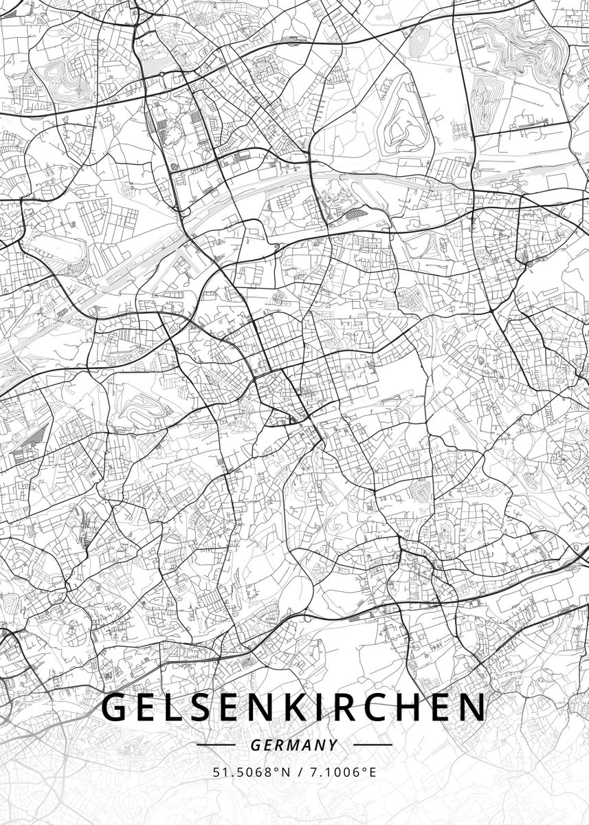 Map Of Germany Gelsenkirchen.Gelsenkirchen Germany By Designer Map Art Metal Posters Displate