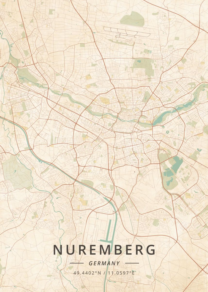 Map Of Germany Nuremberg.Nuremberg Germany By Designer Map Art Metal Posters Displate