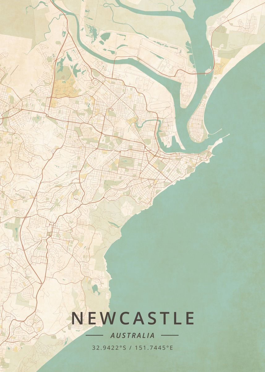 Australia Map Newcastle.Newcastle Australia By Designer Map Art Metal Posters Displate