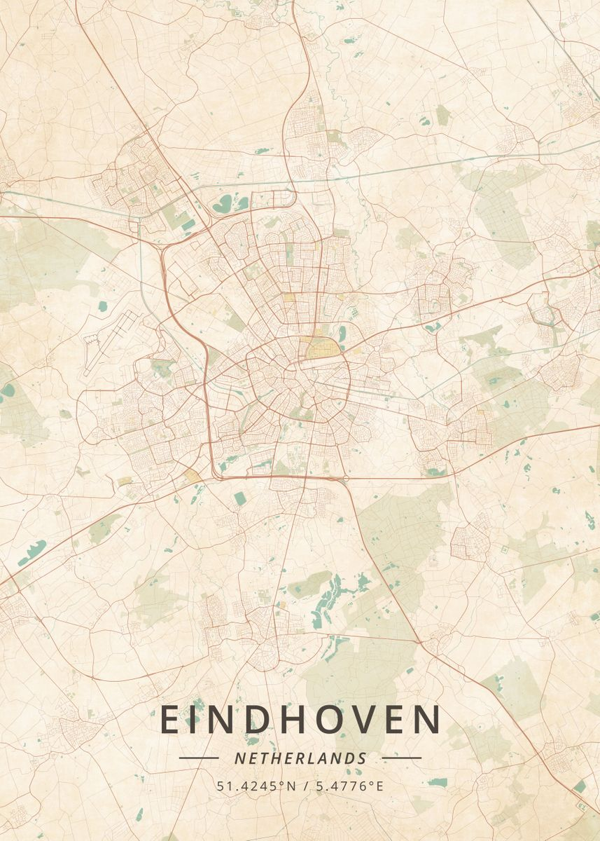 Eindhoven Netherlands by Designer Map Art   metal posters - Displate