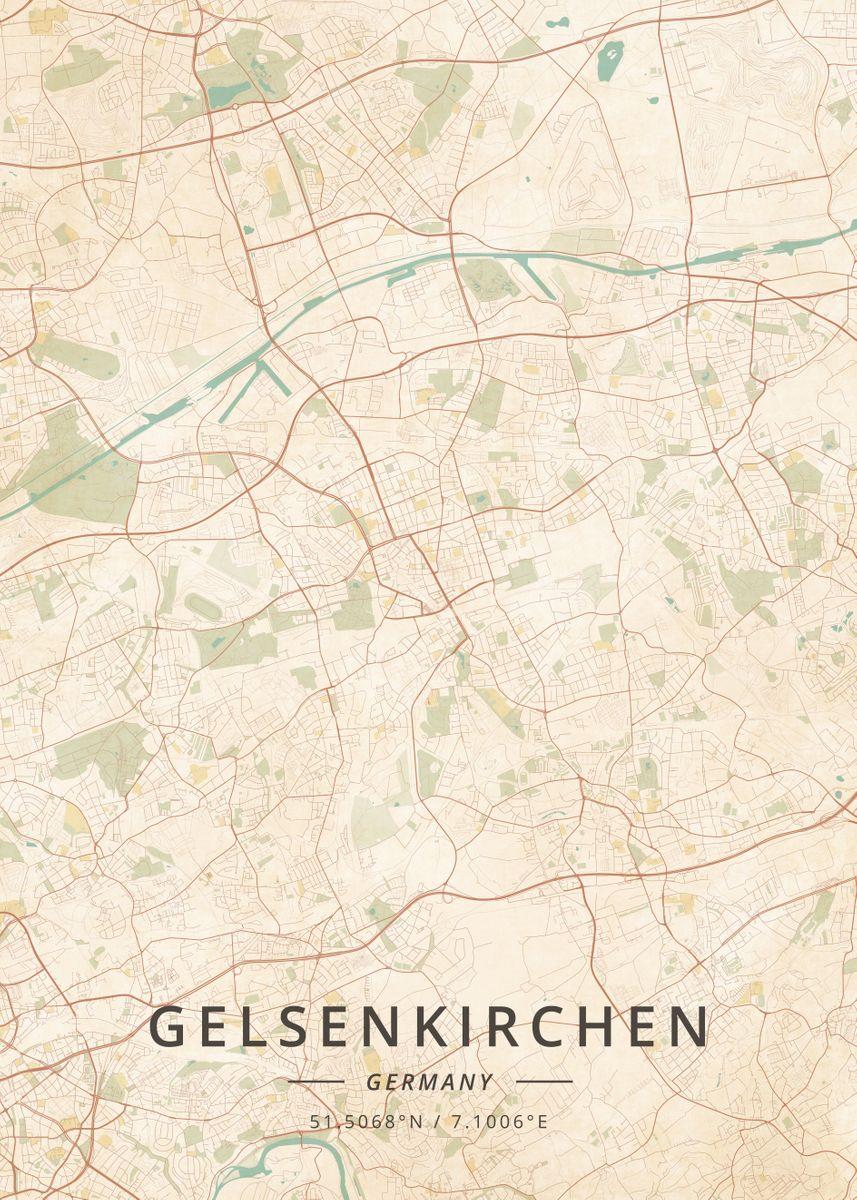 Map Of Germany Gelsenkirchen.Gelsenkirchen Germany By Designer Map Art Metal Posters Displate