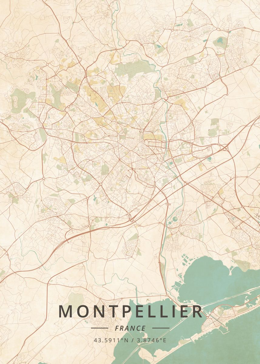 Montpellier On Map Of France.Montpellier France By Designer Map Art Metal Posters Displate