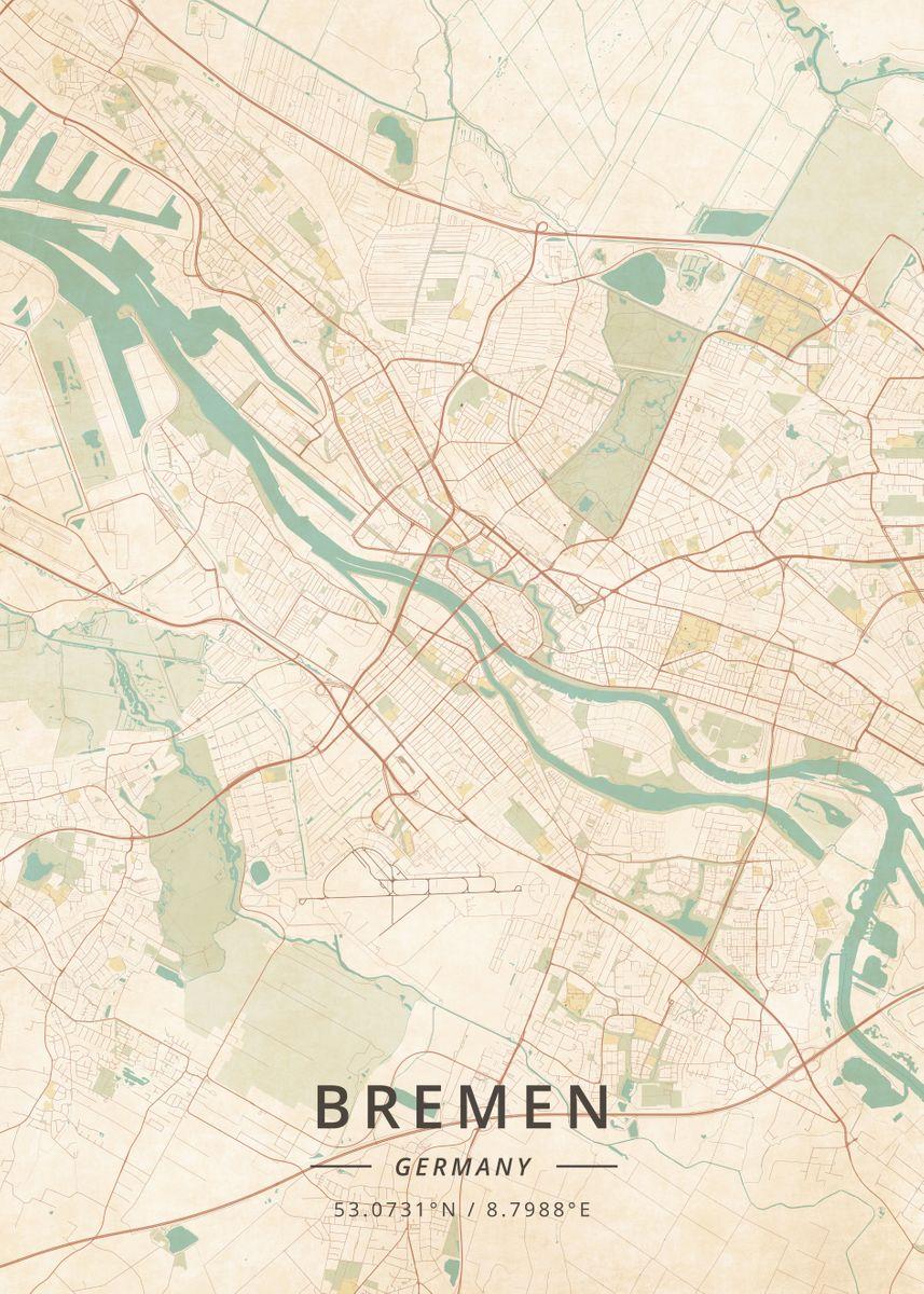 Map Of Bremen Germany.Bremen Germany By Designer Map Art Metal Posters Displate
