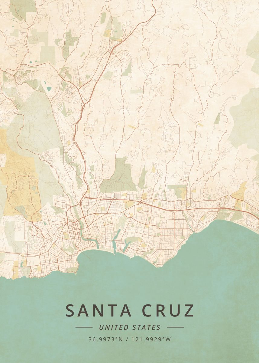 Santa Cruz United States by Designer Map Art | metal posters ... on golden gate bridge on us map, cupertino on us map, irvine on us map, sonoma on us map, san gabriel on us map, reno on us map, saint augustine on us map, orange county on us map, little rock on us map, mount shasta on us map, san clemente on us map, torrance on us map, arcadia on us map, burbank on us map, stockton on us map, oakland on us map, madison on us map, alamo on us map, columbia on us map, mt. lassen on us map,