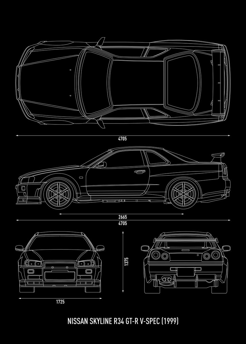 Nissan Skyline R34 Gtr V Metal Poster Rocket Man Displate