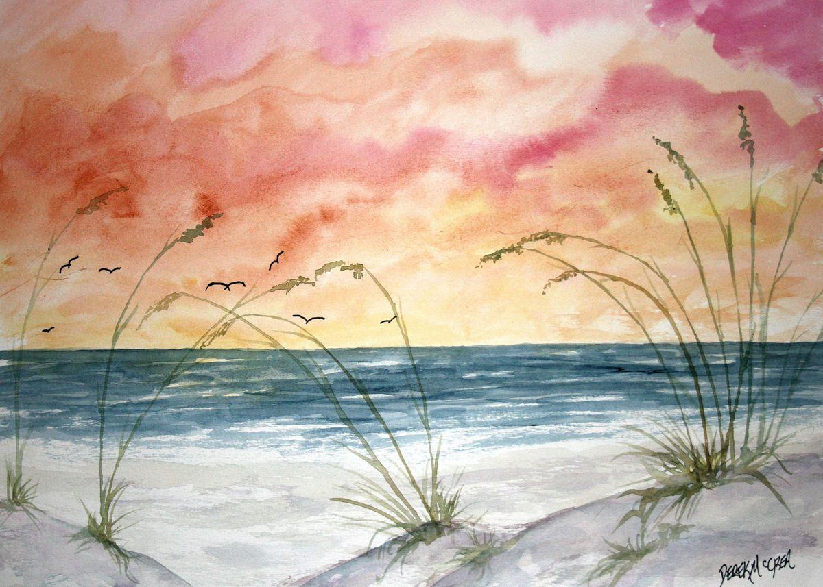 Abstract sunset beach art