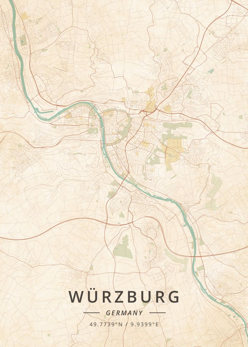 Wurzburg Germany Poster Print By Designer Map Art Displate