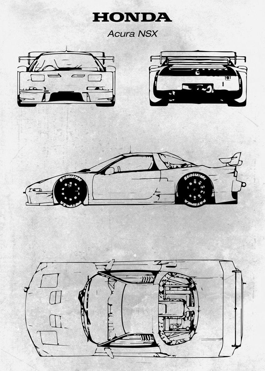 No097 Honda Acura Nsx Poster Print By Xavier Vieira Displate