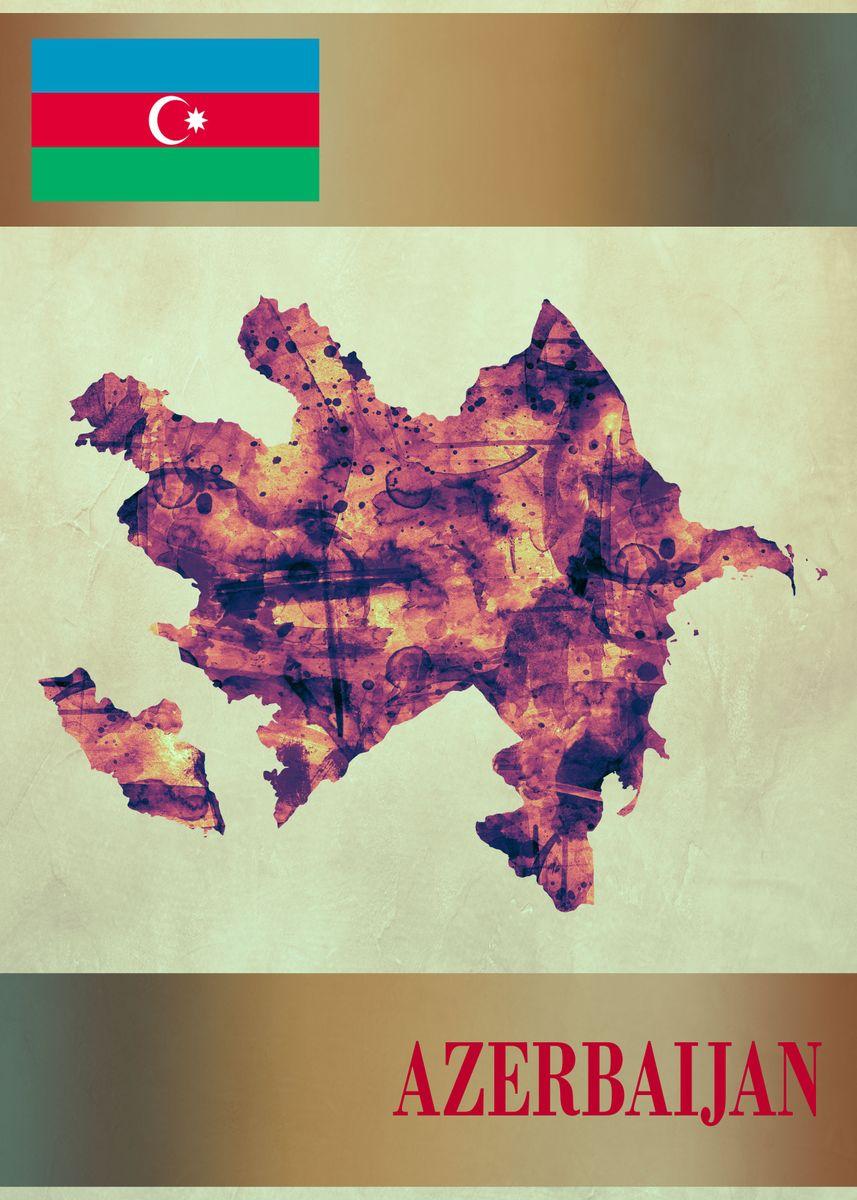 Azerbaijan Map With Flag Metal Poster Towseef Dar Displate