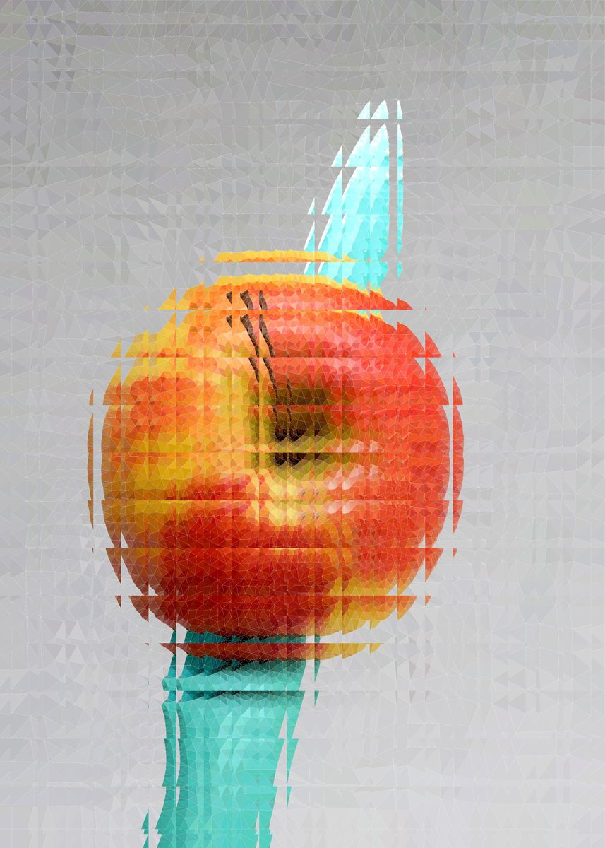 Knife Through Apple No1 Metal Poster Acrylice Playground Displate