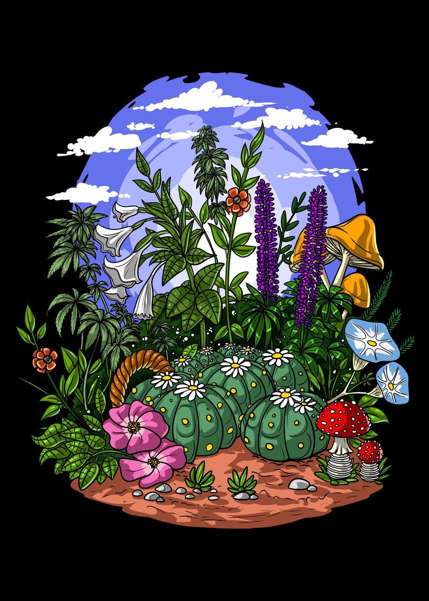 Psychedelic Plants Metal Poster Nikolay Todorov Displate
