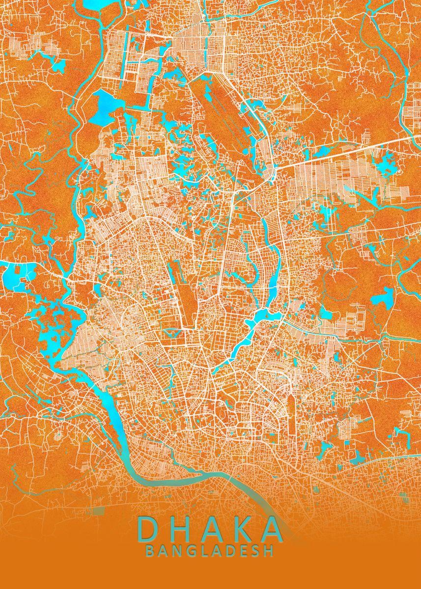 Picture of: Dhaka Bangladesh City Map Metal Poster City Map Art Prints Displate