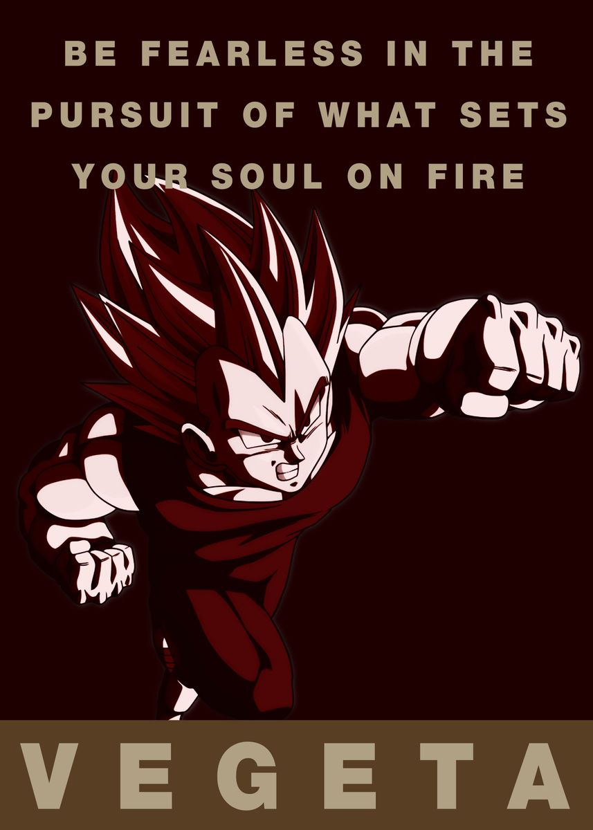 Dragon Ball Vegeta Poster Father and Son Vegeta Motivation Quotes Poster