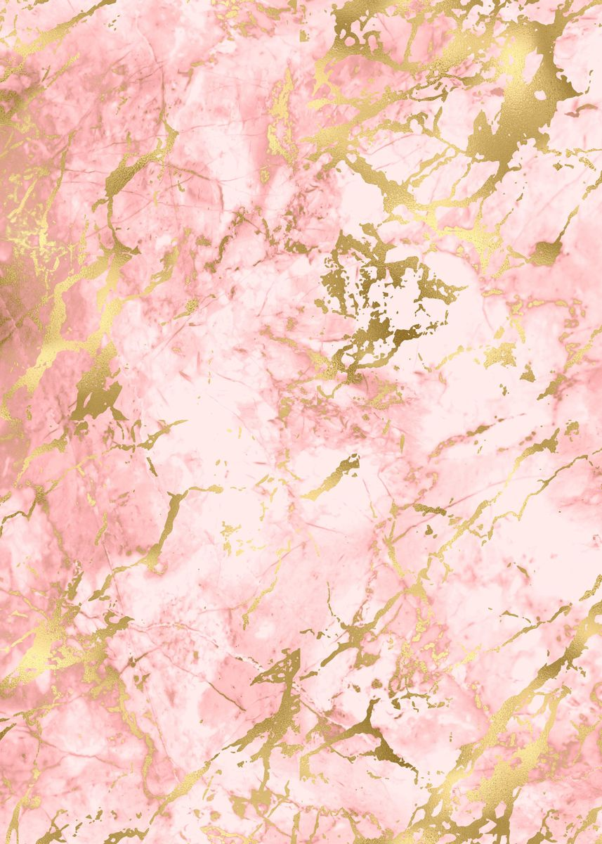 Pink Gold Marble 15 Poster Print By Aloke Design Displate