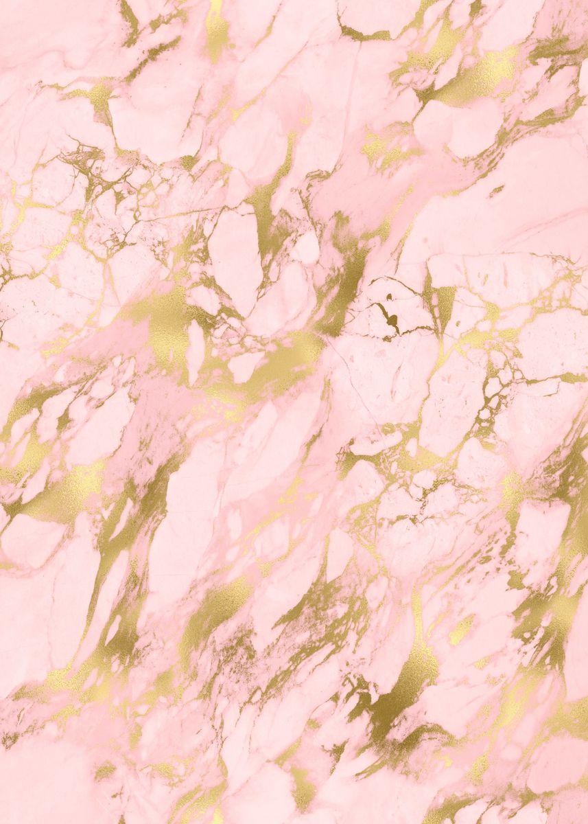 Pink Gold Marble 13 Metal Poster Aloke Design Displate